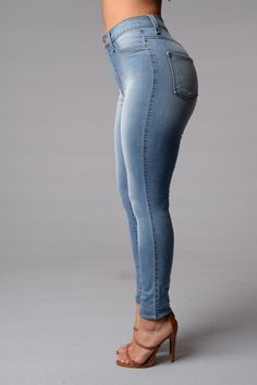Classic High Waist Skinny Jeans - Light Blue