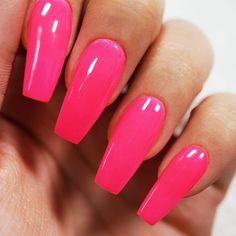 Colored Acrylic Nails, Acrylic Nail Powder, Acrylic Nails Coffin Short, Square Acrylic Nails, Best Acrylic Nails, Pink Coffin, Powder Nails, Pink Nail Colors, Solid Color Nails