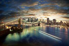Brooklyn Bridge to Manhattan Island ... New York City, NY