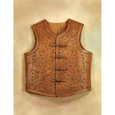 19th Century Floral Carved Leather Vest, 1893