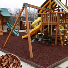 Rubber Mulch is a unique rubber granule made from 100% recycled scrap tires, created to protect your children and the environment. Proven to be the most effective safety surfacing available, Rubber Mulch cushions the impact of dangerous falls and shields children from playground injuries. Strong, resilient, and almost effortless to maintain, Rubber Mulch Playground surfacing is ready for fun no matter what the weather!