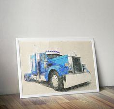Watercolor Digital Art / Digital Painting / PETERBILT Truck / Truck Download / Watercolor Truck / 18 Wheeler Truck / Truck Printable Poster