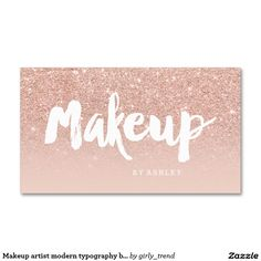 Makeup artist modern typography blush rose gold Double-Sided standard business cards (Pack of 100)