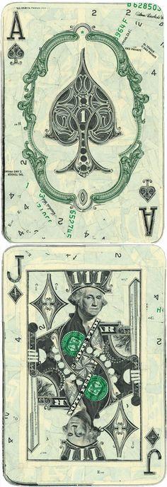 O uso do material é bastante original e consegue manter os aspetos tradicionais das cartas usando os elementos presentes nas notas.