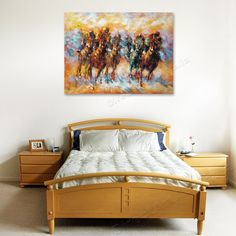 The horses on a race, make your bedroom more beautiful - Direct Art Australia,  Price: $399.00,  Shipping: Free Shipping,  Size: 90 x 120cm High Gloss,  Framing: Framed (Gallery Wrap & Ready to Hang!)   Instock: Yes - immediate free delivery Australia wide!   www.directartaustralia.com.au