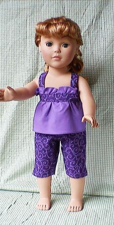 Purple capris and top for 18 inch doll. $18.00, via Etsy.
