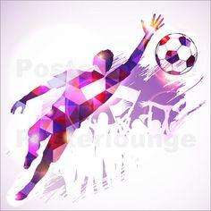 Poster / Canvas print / Glass print Soccer Goalkeeper - TAlex  | eBay American Football Players, Soccer Players, Football Silhouette, Soccer Problems, Football Banner, Theme Sport, Basketball Art, Mosaic Patterns, Goalkeeper