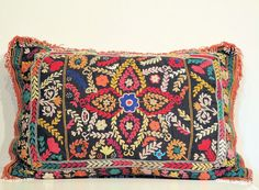 Vintage Central Asian Tribal Pillow Cushion Cover by oldsilkroute