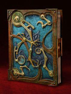 """Gorgeous """"Steampunk Book"""" sculpture by ~smakeupfx on deviantART; leather, brass, handmade paper, resin, glass"""
