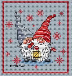 x-stitch cross stitch gnomes with lamp and snowflakes Gallery.ru / Фото #38 - Бесплатные схемы - nata0179