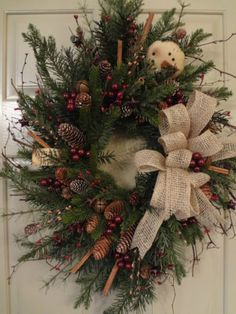 Primitive~Winter~Thyme~Christmas~Holiday~Snowman~Bells~Stars~Floral~Wreath