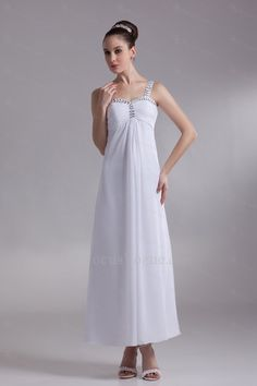 US $169.00   Chiffon stropper ankellange kolonne broderede brudekjole