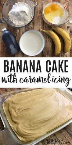Banana Cake Recipe With Bonus Easy Caramel Icing Recipe Congrats! You just found The Best Banana Cake Recipe ever! This simple banana cake recipe is soft, fluffy, moist, and rich and is made even better by being topped with this easy caramel icing recipe. Food Cakes, Cupcake Cakes, Cake Cookies, Muffin Cupcake, Cake Fondant, Bolo Ferrero Rocher, Moist Banana Cake Recipe, Banana Cakes, Banana Cake Frosting