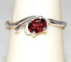 Petite Wine Red  Sparkling Garnet Ring Size 6 by WindstoneDesigns, $32.95