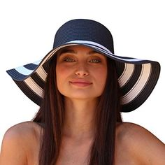 71cca23e1a7 Palms   Sand St. Tropez Women s Striped Floppy Sun Hat (Navy and White) at Amazon  Womens Clothing store