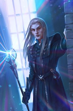 m Wood Elf Cleric Med Armor Staff Potions Temple urban City d&d Dungeons & Dragons Ancano by inSOLense med The Elder Scrolls, Elder Scrolls Games, Fantasy Heroes, Fantasy Warrior, Fantasy Rpg, Fantasy Images, Dungeons And Dragons Characters, Dnd Characters, Fantasy Characters