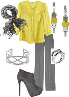 """""""Yellow and Gray for Work"""" by djgauh ❤ liked on Polyvore"""