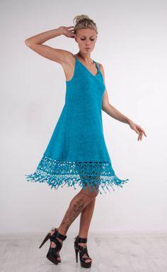 Crochet turquoise dress KNIT mini Dress lace viscose sundress Crochet blue Dress…