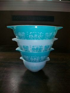 Vintage Pyrex Nesting Bowls Amish Turquoise by RedRiverAntiques, $85.00