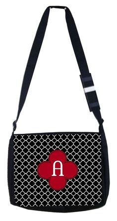 Rosie Parker Inc. TM Personalized Medium Sized Messenger Bag 11.75' x 15.5' -Monogram Initial Black and White Lattice Pattern * Check this awesome product by going to the link at the image. (This is an Amazon Affiliate link and I receive a commission for the sales)