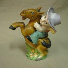 Vintage Japan Cowboy Riding Bucking Horse s P Shakers Austin Texas   eBay