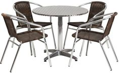 Flash Furniture TLH-ALUM-32RD-020CHR4-GG 31.5'' Round Aluminum Indoor-Outdoor Table with 4 Rattan Chairs