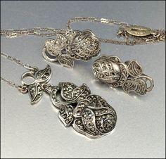 Marcasite Sterling Silver Necklace Art Deco Jewelry by boylerpf, $125.00