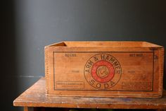 Wooden Crate / Wood Crate / Arm and Hammer by sevenbc on Etsy, $52.00