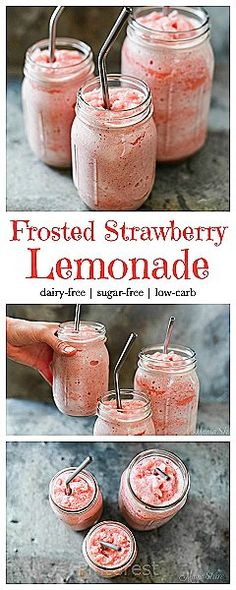 Food Rings Ideas & Inspirations 2017 - DISCOVER Frosted Strawberry Lemonade - Dairy-free, sugar-free, low-carb, THM, Trim Healthy Mama - FP Discovred by : Junk Food, Tasty, Yummy Food, Frozen Drinks, Smoothie Drinks, Protein Smoothies, Fruit Smoothies, Milkshakes, Keto Milkshake