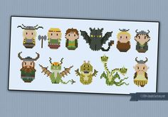 How to Train your Dragon - Cartoons - Mini People - Cross Stitch Patterns - Products