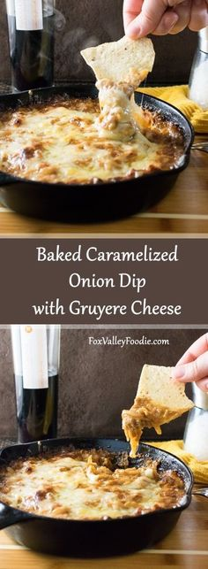 Baked Caramelized Onion Dip with Gruyere Cheese recipe appetizers healthy;appetizers sweet desserts dips and;appetizers f Appetizer Dips, Yummy Appetizers, Appetizer Recipes, Cheese Appetizers, Party Appetizers, Freezable Appetizers, Christmas Appetizers, Avacado Appetizers, Prociutto Appetizers