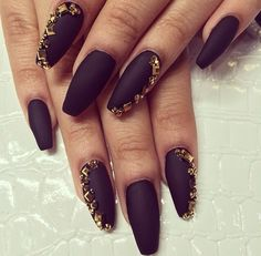 Black coffin nail with gold bling!