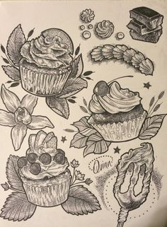 Tattooing at Satori Ink in Bethlehem Pa  Cupcakes baking vanilla chocolate lime icing blueberries eggbeater mint strawberry cherry sweets yummy tattoo flash by Quinn