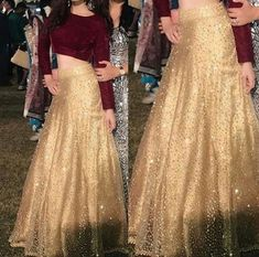 Golden Lehenga Indian Lehenga Crop top and skirt Wedding Party wear Designer chaniya choli. Ethnic clothes from India. Made to Order - Designer Dresses Couture Lehenga Crop Top, Lehenga Blouse, Lehenga Choli, Anarkali, Lehenga Skirt, Sharara, Sarees, Choli Designs, Lehenga Designs