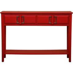 Doretta Demilune Red Console Table Red Painted Finish Red