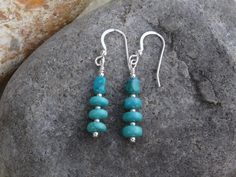 Drop earrings, sterling silver and Chinese turquoise