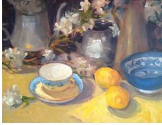 Spring Lemons with Silver oil painting still life by Margaret Aycock original #Impressionism
