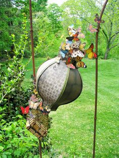 The Lepidopterist Explorer - wonderful hot air balloon and steamer trunk constructed from paper.