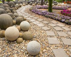Stone Garden Path- The spheres look like stone. If anyone knows what they are, please leave a comment.