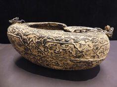 Rare carved Coco de mer Sufi Dervish Kashkul begging bowl with Images and text.