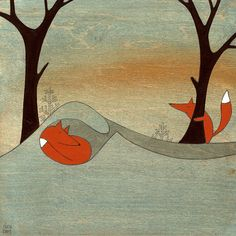 Searching For Mr. Fox  Signed Art Print van krisblues op Etsy, $25.00