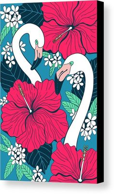 Flamingos And Tropical Flowers And Leaves Canvas Print by Katerina Kirilova.  All canvas prints are professionally printed, assembled, and shipped within 3 - 4 business days and delivered ready-to-hang on your wall. Choose from multiple print sizes, border colors, and canvas materials.