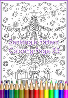 """Winter coloring page ZENTANGLE """"Merry Christmas"""" adult and children, PDF zentangle   pattern, printable art tangle inspired"""