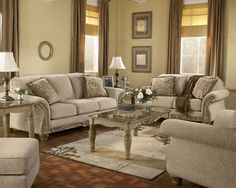 Salinas – Old World Wood Trim & Fabric Sofa Set Living Room-New Furniture