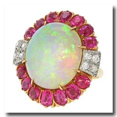 Inv. #16642  Opal Ruby and Diamond Art Deco Ring 14k c1920s American. Lawrence Jeffrey Estate Jewelers