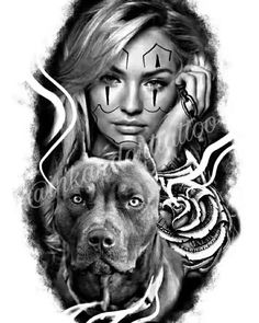 for the dog lover Chicano Art Tattoos, Chicano Drawings, Gangsta Tattoos, Badass Tattoos, Body Art Tattoos, Sleeve Tattoos, Chicanas Tattoo, Clown Tattoo, Girl Face Tattoo