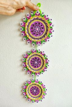 Paper Quilled Flower Quilling Mandala Flower Wall by IvyArtWorks Paper Quilling Cards, Arte Quilling, Paper Quilling Patterns, Origami And Quilling, Quilled Paper Art, Quilling Craft, Quilling Flowers, Quilling Rakhi, Quilling Tutorial