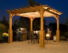 Free Standing Pergola With Early American Stain And Crescent Profile.  Upgraded Full Covered Roof. | Outside | Pinterest | Free Standing Pergola,  ...