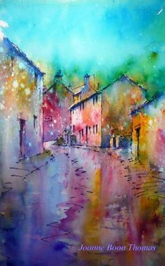Kettlewell by J Boon Watercolor Architecture, Watercolor Landscape Paintings, Landscape Artwork, Watercolor Artists, Watercolor Techniques, Watercolor And Ink, Watercolour Painting, Brusho Techniques, Watercolours