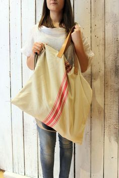 MARINA BAG Handmade grooved cotton & Leather Shopping bagtote